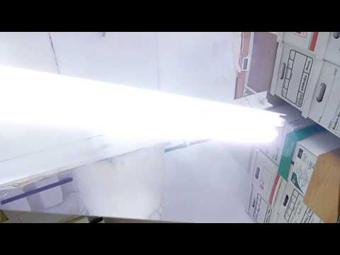 Death of a T8 LED tube in a fluorescent fixture ...SPARKS and FLASHES