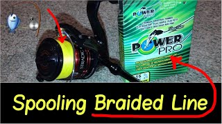 🎣How to Spool Braided Line Review on a Spinning Shimano Ci4  Reel with PowerPro or Berkley Trilene