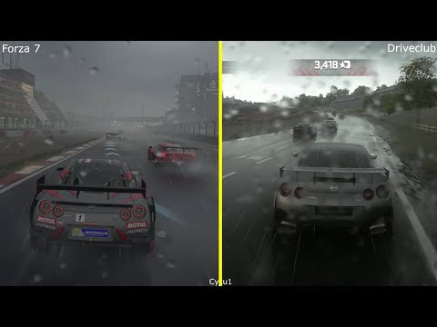 Forza 7 vs Driveclub - Xbox One X vs PS4 Pro Rain Effect 4K Graphics Comparison