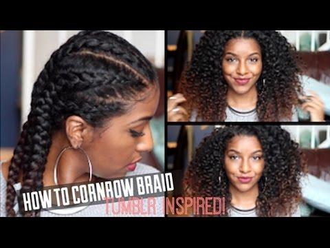 How To Cornrow Braid Natural Hair| Defined Curls!