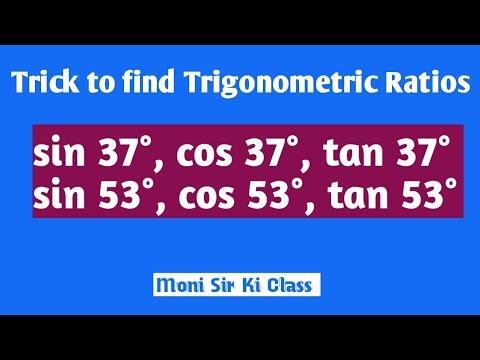 Trick to find sin 37°, cos 37°, tan 37°, sin 53°, cos 53°, tan 53°