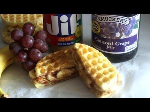 Waffle P&J with Banana Sandwich