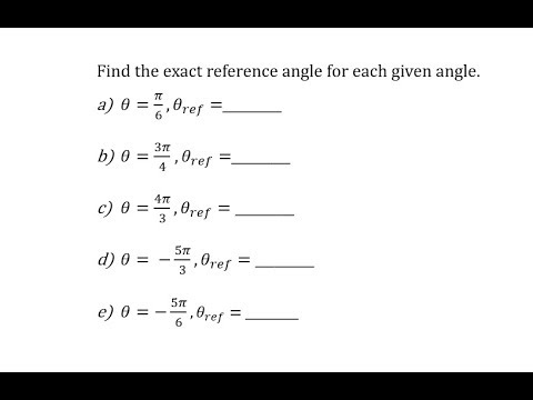 Determine Reference Angles of Angles Given in Radians (Pos and Neg)