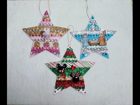 DIY~Glitzy Scrap Ribbon Star Ornaments!