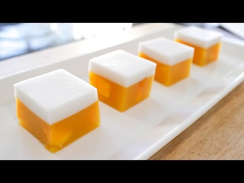Mango Coconut Jelly (Agar Agar) Recipe วุ้นมะม่วง - Hot Thai Kitchen