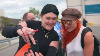 Becky Lynch greets the WWE Universe outside Chicago