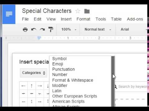Google Sheets - Insert Special Characters