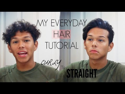 MEN'S EVERYDAY HAIRSTYLE   Creating Waves, Volume, and Texture   Curly to Straight Hair Routine