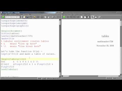 LaTeX Tutorial 09 tables