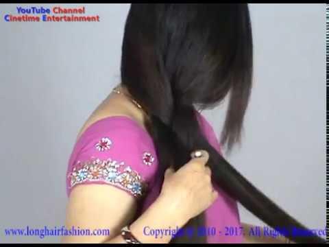 Beautiful Indian Long Hair Woman with Thick Braid & Bun Making