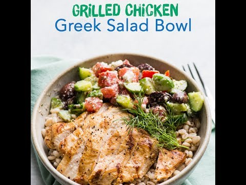 Grilled Chicken Greek Salad Bowl - A perfect summertime grain bowl!