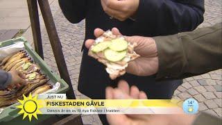 """Jesper & Tilde blir bjudna på böckling: """"Oj oj oj vad gott!"""" - Nyhetsmorgon (TV4)"""