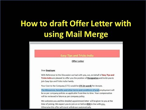 Create Offer Letter with Using Mail merge