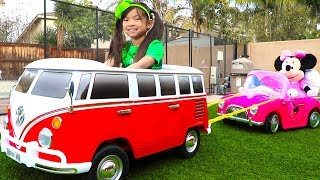 Download Emma Pretend Play w/ New VW Van Ride On Car Toy Video
