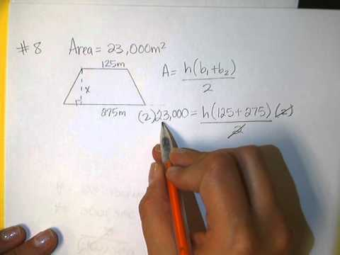 Solving for height in a trapezoid when given the area and bases