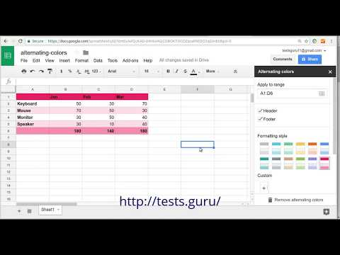 Alternating Colors for Rows in Google Sheets