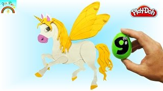 How to make Play Doh creation (Fairy tail yellow Unicorn) for kids