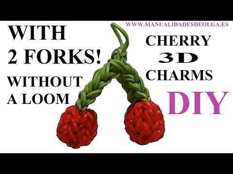 Cherry 3D Charm With two forks without Rainbow Loom Tutorial. (Mini fruit)