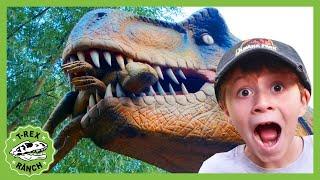 Giant Dinosaurs \u0026 Life Size T-Rex! Jurassic Dinosaur Park Adventure   T-Rex Ranch