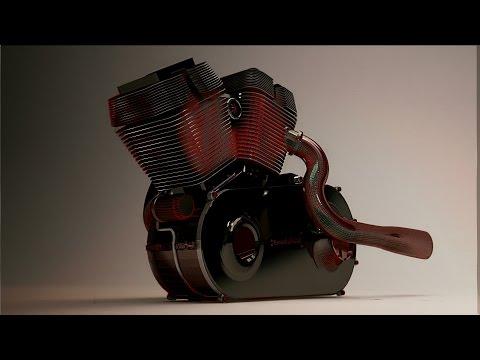 3Ds max - vray rendering motorbike engine .