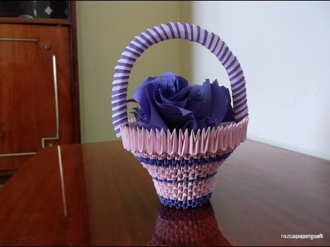 3D Origami basket with flowers tutorial     DIY  Paper Craft Basket   Razcapapercraft 10