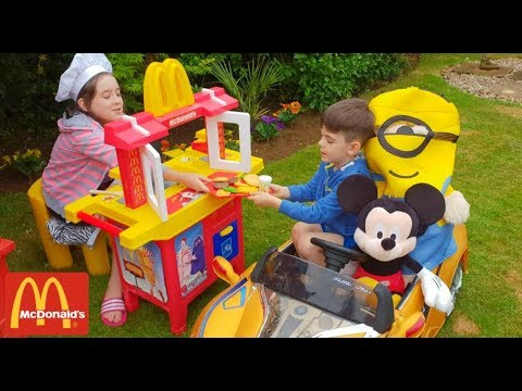 Pretend Play with Kitchen Toy Cooking Food with Minion and Mickey Mouse  at Mcdonald's