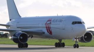 The Rolling Stones Jet arrives at Manston Airport in the UK