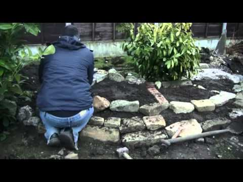 Time Lapse: Making of a garden pond and waterfall