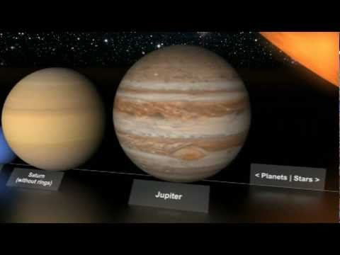 Planet Earth compared to other planets and stars in size.