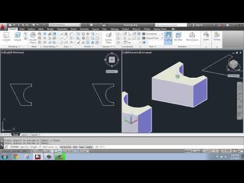 AutoCAD 2013 - 3D Modeling Basics #6 - Extrude, Taper Angle, Path - Brooke Godfrey