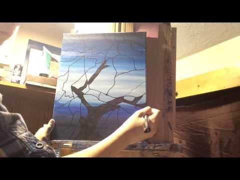 Broken glass night painting detail.