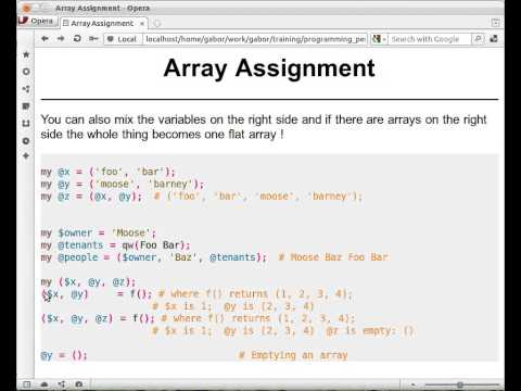 Beginner Perl Maven tutorial 4.5 - array assignment