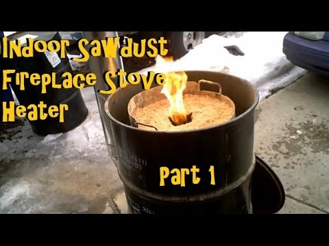 Sawdust Stove Cabin Garage Rocket Stove Heater PART 1