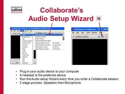 Collaborate audio setup wizard