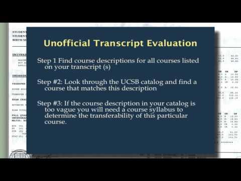 Preliminary Transcript Evaluation