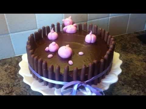 Awesome Pig Chocolate Birthday Cake Instructions