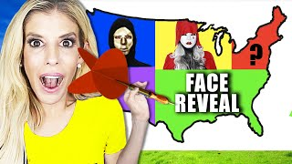 Throwing a DART at a MAP and Doing a FACE REVEAL Battle Wherever it LANDS!   Rebecca Zamolo