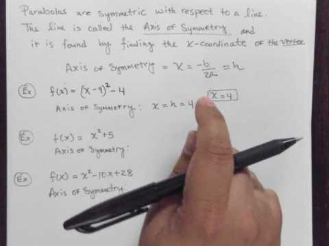 Find the equation of the Axis of Symmetry of the Parabola