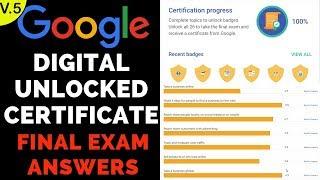 Google Digital Unlocked Certificate Final Exam Answers - 2019 - 7th