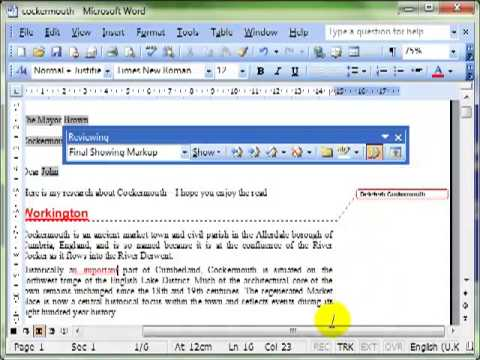 Track and review changes in Microsoft Word 2003 (final)