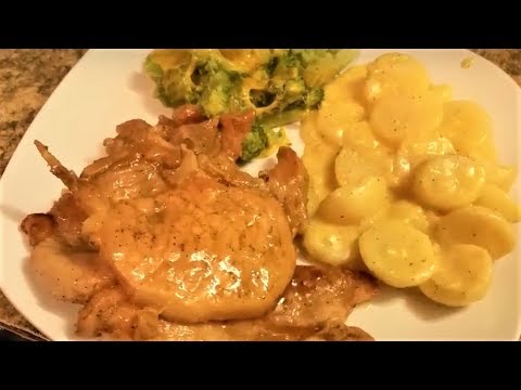 Easy Scalloped Potatoes, Broccoli & Cheese and BBQ Pork Chops