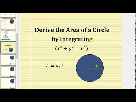 Derive the Area of a Circle Using Integration (x^2+y^2=r^2)