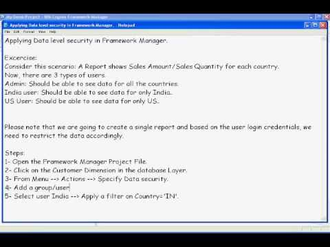 Cognos 10 Training - Framework Manager Data Level Security  - Part 15 of 30