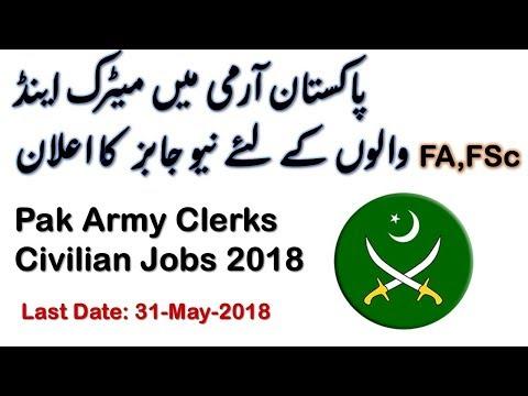 Pakistan Army Clerks Civilian Jobs 2018