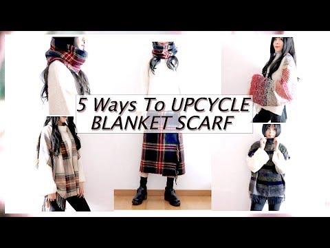 5 Ways To UPCYCLE BLANKET SCARF ♻️ THRIFT FLIP ✂️ DIY / 옷리폼 / 簡単リメイクㅣmadebyaya
