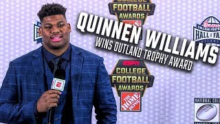 Quinnen Williams wins Outland Trophy award, speaks to media