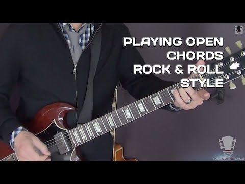 Playing Open Chords on the Electric Guitar - Rock and Roll Style