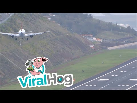 Plane Attempts to Land at Madeira Airport in Strong Winds || ViralHog