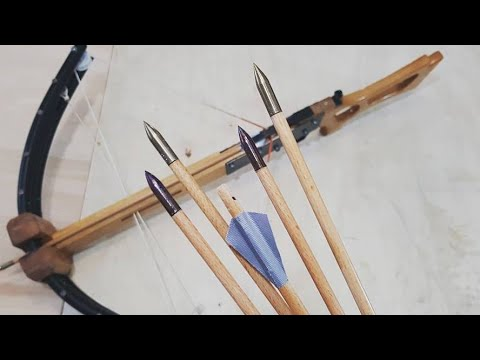 How to Make Crossbow Bolts - Steel Tip Wooden Shaft