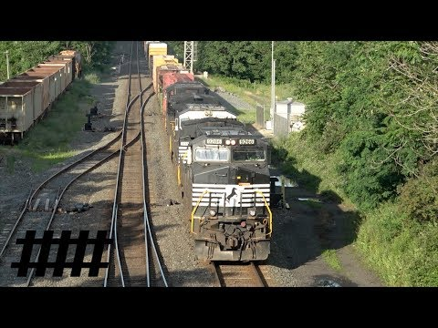 NS Harrisburg Line at CP Millards with Norfolk Southern Trash Train & Mixed Freight Train